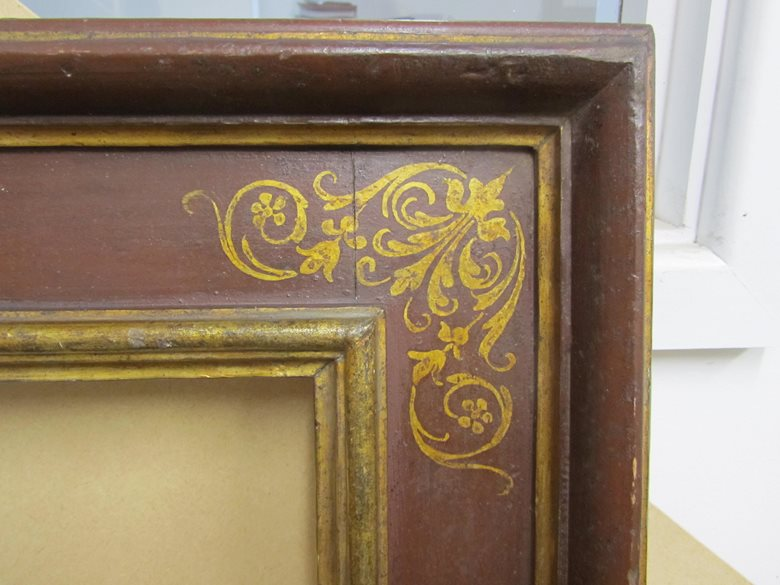 Reproduction Italian 17th century frame with corner & centre arabesques