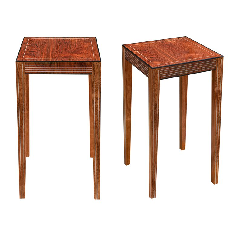 Pair of Brecon rosewood veneered tables. Made to order by Perceval Designs
