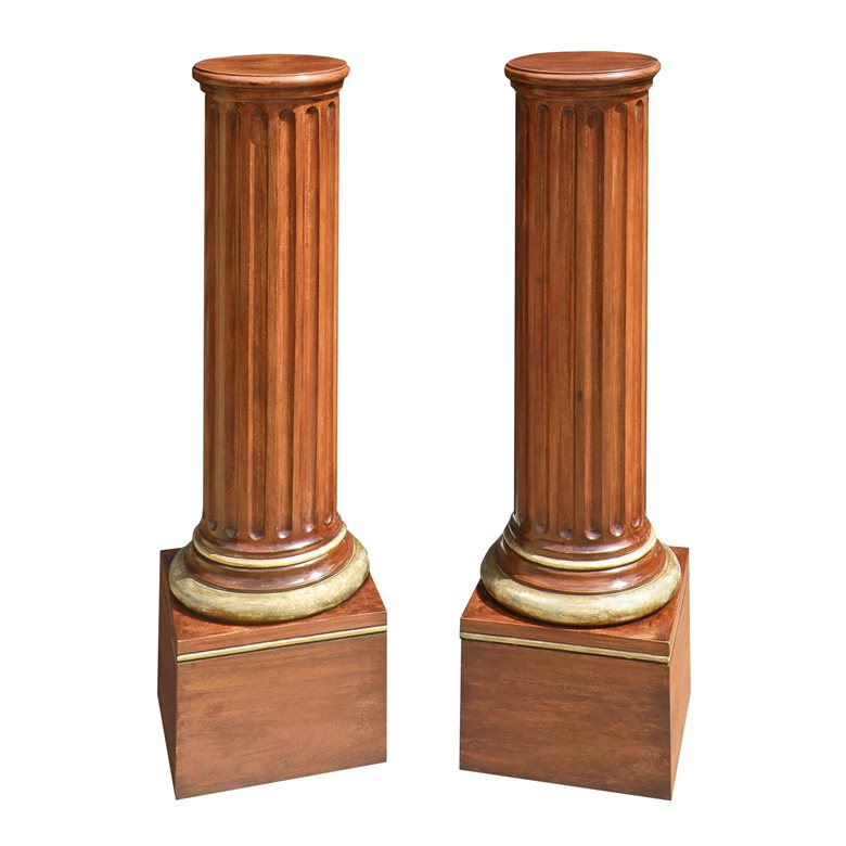 Pair of parcel gilt mahogany pedestals. Made to order by Perceval Designs